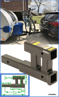 Extend your trailer hitch receiver opening and get an extra receiver with the same piece. This dual hitch extension gives you receivers so you Kayak Trailer, Travel Trailer Camping, Truck Camping, Travel Trailers, Motorhome, Truck Hitch, Best Bike Rack, Trailer Hitch Accessories, Truck Accessories