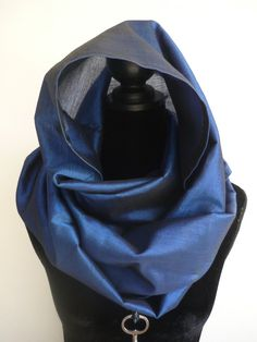 Blue romantic cotton & silk scarf / veil by Avalon designs NL