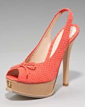 Fendi Snake-Print Slingback Platform Sandal