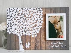New Pic Wedding Tree Guest Book - Wedding Guestbook - Alternative Wedding Guestbook - Signature Tree Guestbook - Unique Guestbook Ideas Suggestions when getting particular wedding gifts for newlyweds, specific gifts that can be kept for decades mi Wedding Tree Guest Book, Guest Book Tree, Tree Wedding, Post Wedding, Wedding Book, Wedding Signs, Diy Wedding, Rustic Wedding, Wedding Day