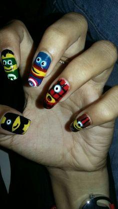 Avengers minion nail art
