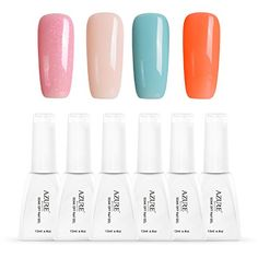 Azure Beauty Soak Off Gel Polish Say Hello to Summer Shiny Nail Lacquer Manicure Art Kit 4 Pcs 12ml WSGP19 >>> You can get more details by clicking on the image.