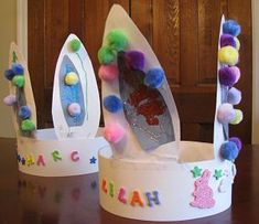 Materials: poster board / oak tag pink (or light blue or light purple) construction paper glitter or glitter glue, Easter/Spring-themed stickers cotton pom-poms in white or pastel colors glue stapler tape