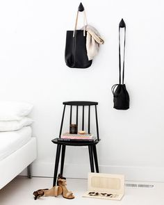 Via A Merry Mishap Normann Copenhagen Drop It Hooks in black Design Scandinavian, Interior Styling, Interior Design, Tiny Apartments, Nordic Home, White Bedroom, Master Bedroom, Couch, Decoration