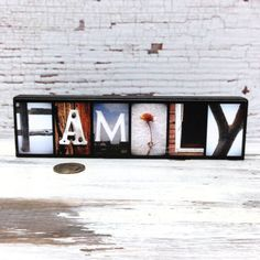 FAMILY Wood Sign Picture Photo Letter Art by LettersOfLoveDesigns