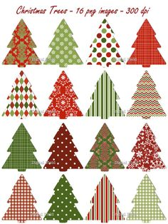 INSTANT DOWNLOAD Christmas Tree clip art set  red by digitalfield,
