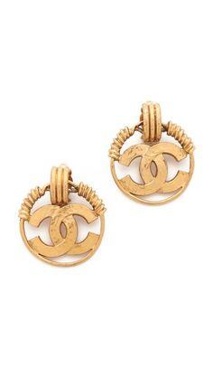 WGACA Vintage Chanel CC Tri Ring Clip On Hoop Earrings