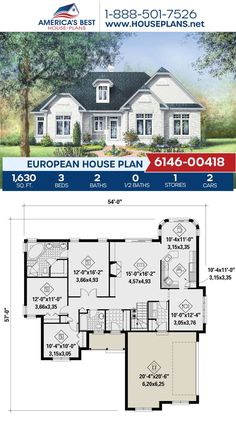A charming European home design, Plan 6146-00418 offers 1,630 sq. ft., 3 bedrooms, 2 bathrooms, a breakfast nook, and an open floor plan. #architecture #houseplans #housedesign #homedesign #homedesigns #architecturalplans #newconstruction #floorplans #dreamhome #dreamhouseplans #abhouseplans #besthouseplans #newhome #newhouse #homesweethome #buildingahome #buildahome #residentialplans #residentialhome European Plan, European House Plans, Best House Plans, Dream House Plans, Building Section, Building A House, Floor Plan Drawing, Cost To Build, Construction Cost