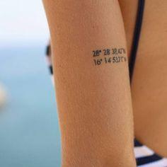 Coordinate tattoo on Claudias tricep.
