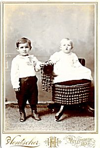 Cabinet Photo: Two Formally-Dressed Children in Wisconsin