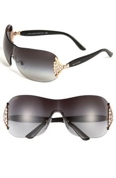 40805887b130 BVLGARI Swarovski Crystal Rimless Shield Sunglasses available at Nordstrom