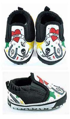 Punk Rock N Roll Baby Shoes Tattoo Slip Ons - Jaminga