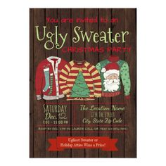 Shop Ugly Sweater Christmas Party Invitations created by decembermorning. Vintage Christmas Party, Christmas Party Themes, Christmas Cards, Handmade Christmas, Christmas Holiday, Ugly Sweater, Ugly Christmas Sweater, Jumper, Christmas Party Invitations