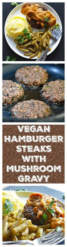 Vegan Hamburger Steaks with Onion Mushroom Gravy