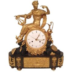 18th Century French Louis XVI Bronze Gold Clock with Calendar | From a unique collection of antique and modern clocks at http://www.1stdibs.com/furniture/more-furniture-collectibles/clocks/