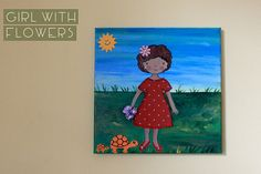 Girl with flowers and turtles  3D painting by travelinsta on Etsy