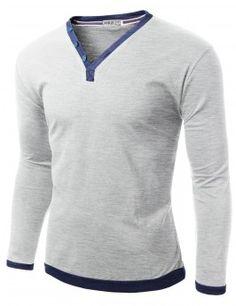 Doublju Mens Button Point V-neck Longsleeve Tee (CMTTL039)