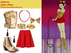 Like Sailor Moon Outfits on Facebook!  Forever 21 rope trim necklace in Red/Gold Forever 21 pressed geo bangles in Gold Forever 21 etched bracelet in Gold Forever 21 sparkling teardrop earrings in Black American Apparel Lamé gold hair clip Topshop red ribbed pleated skirt Blink Maraa platinum heavy glitter boots GoJane metallic tube top Sailor Moon Outfit, Sailor Moon Cosplay, Cartoon Outfits, Anime Outfits, Blueberry Girl, Sailor Moon Collectibles, Gold Hair Clips, Anime Inspired Outfits, Sailor Fashion