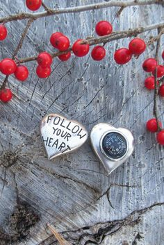 Follow Your Heart Pocket Compass by jimclift on Etsy