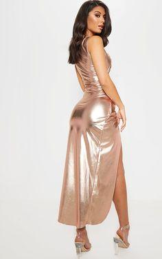 Best 11 Rose Gold Cut Out Knot Detail Midi Dress image 2 Dress Vestidos, Satin Dresses, Sweet Dress, Hot Dress, Clear Strap Heels, Latex Dress, Dress Images, Metallic Dress, Vogue
