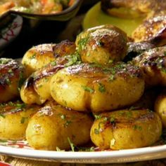 Yukon Gold Potatoes - Jacques Pepin Style - Potatoes baked in Chicken Broth, Garlic and Butter, SO GOOD! They get crispy on the bottom but stay fluffy inside. Chocked full of flavor.
