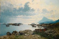 Artwork by Eilert Adelsteen Normann, Entering harbour, Lofoten islands, Made of oil on canvas