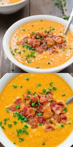 This healthy and tasty Red Lentil Soup with Bacon is vibrantly colorful and aromatic. It is going to keep you warm during the cold weather. Red Lentil Recipes, Healthy Soup Recipes, Vegetarian Recipes, Cooking Recipes, Red Lentil Soup, Healthy Lentil Soup, Best Lentil Soup Recipe, Homemade Soup, Soup And Salad