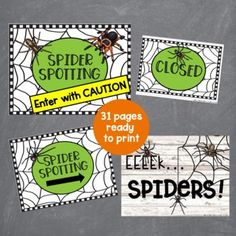 This dramatic play spider spotting set is perfect for your fall dramatic play or Halloween dramatic play area. Preschool, prek, and kindergarten students will love learning all about spiders with this spider inspired dramatic play center. Let them buy tour tickets, search for spiders, and record their findings. The Spider Spotting dramatic play center is a great addition to a fall theme or Halloween theme or study on spiders. Halloween Theme Preschool, Preschool Crafts, Halloween Themes, Dramatic Play Area, Dramatic Play Centers, Spring Theme, Autumn Theme, Spider Pictures, Sign Materials