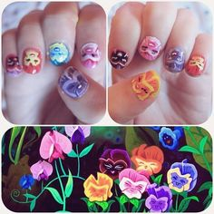 tinytangerines:  ✿we don't want any weeds in our bed✿ nails ready for my birthday trip to Disneyland this weekend!  THIS IS SUCH A CUTE IDEA :)