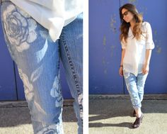 DIY Easy Stenciled Floral Jeans Tutorial from Studs and Pearls here. This is so easy and you can do it in any color on jeans or shorts.