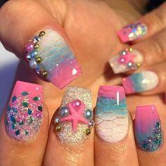 Fabulous Nails, Gorgeous Nails, Pretty Nails, Cruise Nails, Vacation Nails, Mermaid Nail Art, Sea Nails, Nails For Kids, Cute Acrylic Nails