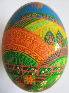 It is said that as long as pysanky (Ukrainian Easter eggs) are being made somewhere in the world, the balance between good and evil is maintained. Pysanky by Amelia R.