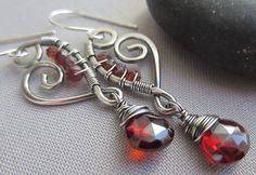 Garnet Earrings/Wire Earrings/ Garnet Heart Earrings/ by mese9