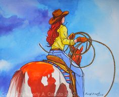 """Its Her Turn Next by Beverly Caputo Watercolor ~ 11"""" x 13"""""""