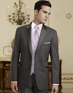 Joey & Groomsmen (Charcoal Vest, Black Tie, Black Pocket-Square)
