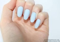Matte pastel blue oval nails, Nail designs, Nail art, Nails, Stiletto nails, Acrylic nails, Oval nails, Fake nails, False nails - Brought to you by Avarsha.com