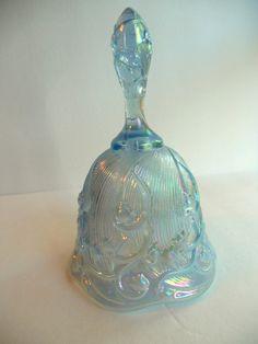 Vintage Fenton Irredescent Blue Glass Dinner Bell. via Etsy.