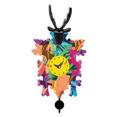 Ebern Designs Miesha Modern Cuckoo Style Clock In A Colorful Pattern With A Deer Adornment. Quartz Time Only. Grey Wall Clocks, Farmhouse Wall Clocks, Cool Clocks, Iron Wall, Black Forest, Flower Wall, Deer, Design, Quartz