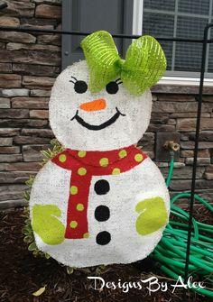 Snowgirl Burlap Garden Flag by DesignsByAlex17 on Etsy, $23.00