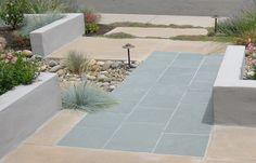 slate and colored concrete
