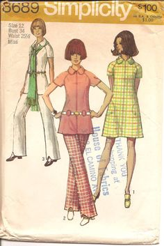 1970s Womens Dress Tunic Pants  Simplicity 8689 by ErikawithaK