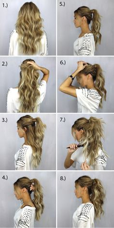 62 Easy Hairstyles Step by Step DIY. Check out our collection of easy hairstyles step by step diy. You will get hairstyles step by step tutorials, easy hairstyles quick lazy girl hair hacks, easy hairstyles step by step quick Full Ponytail, Long Ponytails, Messy Ponytail Tutorial, Perfect Ponytail, Summer Ponytail, Voluminous Ponytail, Curled Ponytail, Curly Hair Tutorial, Hair Beauty