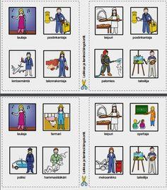 Yhteiskunnan ihmisiä Bingo. Bingossa voittaa se, joka saa taulun ensimmäisenä täyteen eli neljä oikein. Bingo, Teaching, Comics, Education, Cartoons, Comic, Comics And Cartoons, Comic Books, Comic Book
