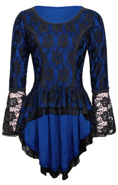 Gothic Victorian Blue Velvet and Black Lace Top from The Violet Vixen