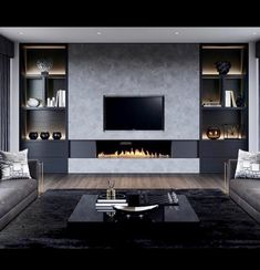 Wall Units With Fireplace, Home Fireplace, Living Room With Fireplace, Fireplace Design, Home Living Room, Living Room Decor, Modern Tv Room, Living Room Tv Unit Designs, Living Room Colors