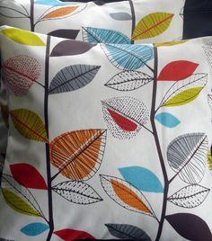 Decorative pillow turquoise blue red orange yellow green brown gray grey leaf  cushion shams UK designer fabric 16 x 16 inch. $20.00, via Etsy.