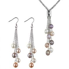 Multi-strands Silver Bar Slider Multi-color Cultured Pearl Lariat with Multi-color Dangle Earrings Set