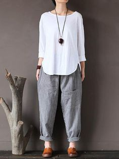 Nordstrom Pants – Women Stripe Elastic Waist Casual Loose Harem Pants Find More Ideas at my Fashion Pants, Look Fashion, Hijab Fashion, Fashion Outfits, Fashion Women, Casual Wear, Casual Dresses, Casual Outfits, Cute Outfits