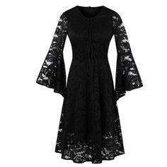 Gothic Black Dress Flare Sleeve