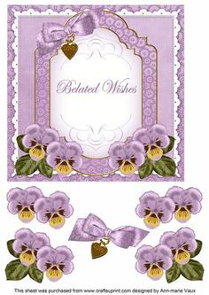 Lilac Pansy Belated Wishes Fancy 7in Decoupage Topper on Craftsuprint - Add To Basket!